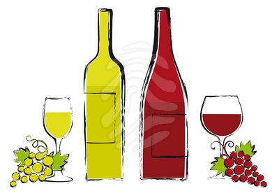 Red and white wine clipart.