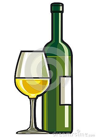 Dry White Wine Stock Photo.