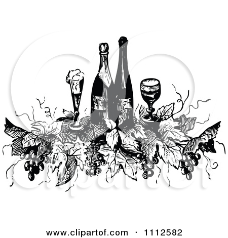 Clipart Vintage Black And White Wine Bottles Glasses Grapes And.