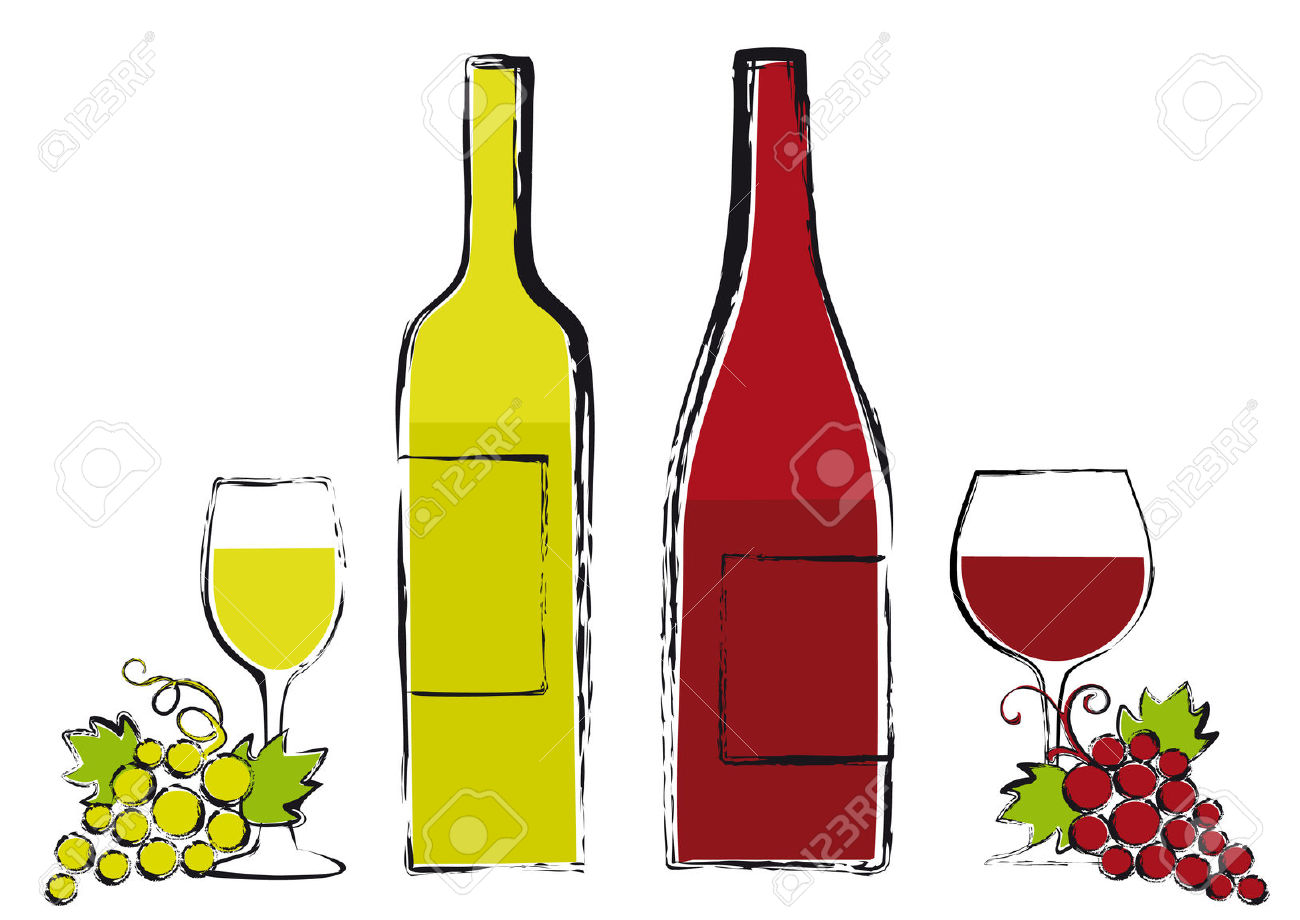 Red And White Wine Bottles With Glasses And Grapes, Vector Royalty.