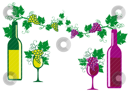 Red and white wine, vector stock vector.