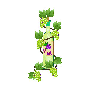 Wine clip art of white wine bottle and green grapes plus a p.