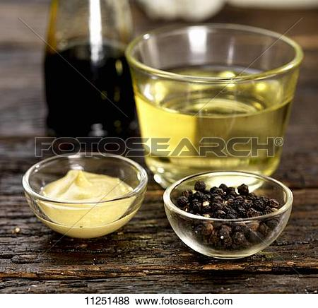 Pictures of Dijon mustard, peppercorns, white wine vinegar and.