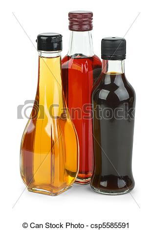 Stock Photography of Bottles with apple and red wine vinegar and.