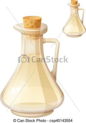Clipart Vector of White wine vinegar isolated on white background.