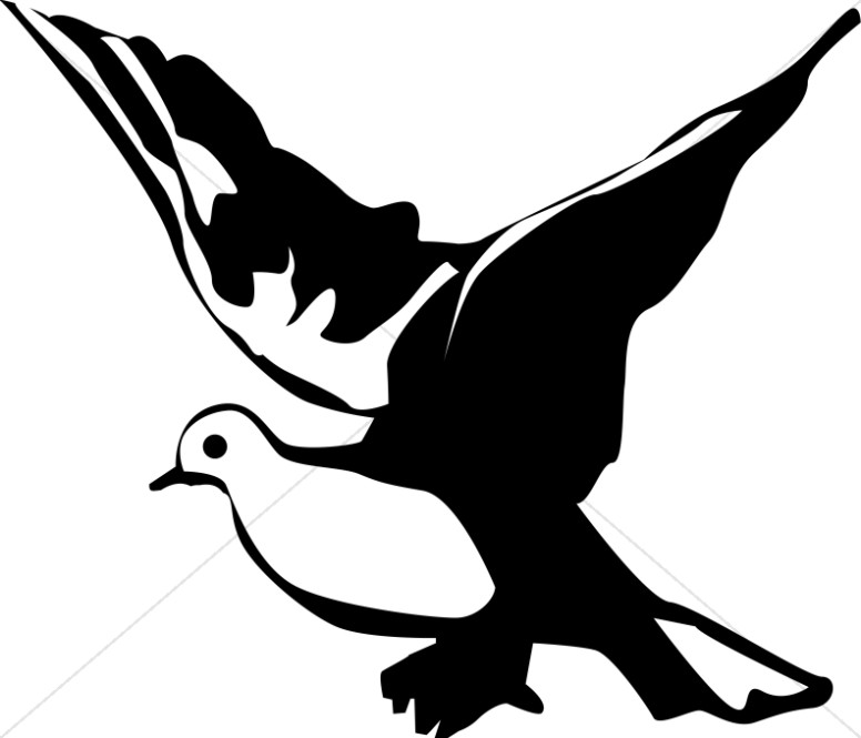 Winged Black and White Dove Clipart.