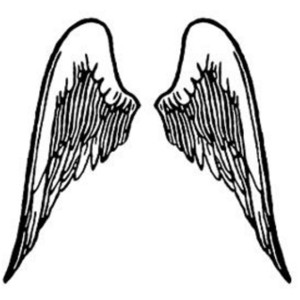 Free Clipart Picture of Black and White Wings.