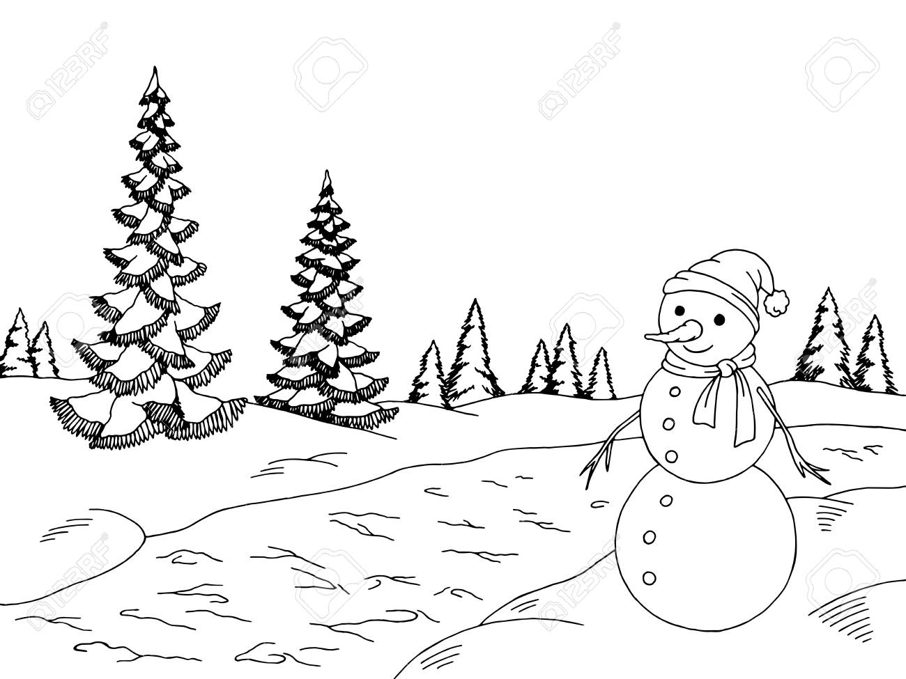 Winter Season Winter Clipart Black And White.