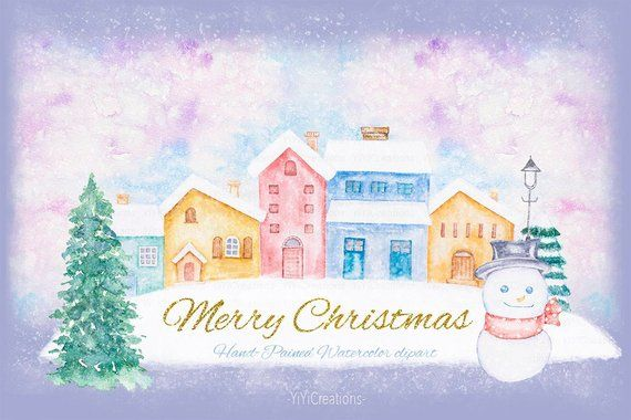 Winter Cottage Clipart, Watercolor House Painting, Christmas.