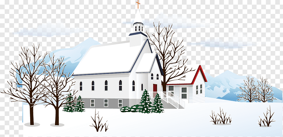 White house coated snow illustration, Snow Winter, Snow.