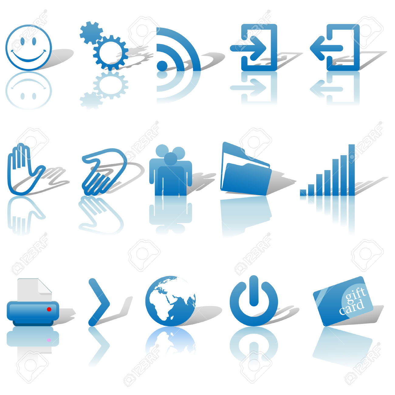Blue Icon Symbol Set 2: Printer; Gears; Chart; Earth; People.