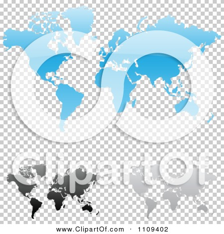 Clipart Blue Black And Gray World Maps With Shadows.
