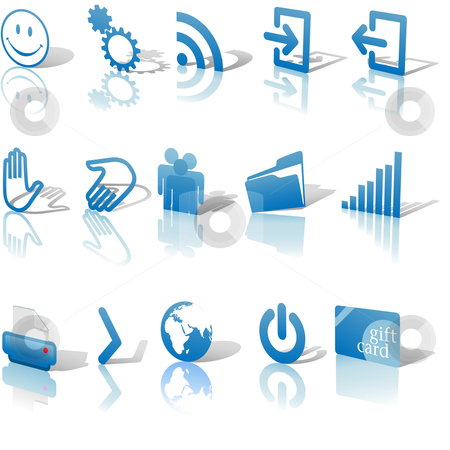 Web Blue Icons Shadows & Relections Angled on White Set 2 stock vector.