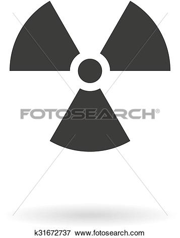 Clip Art of Dark grey icon for radiation hazard on white.