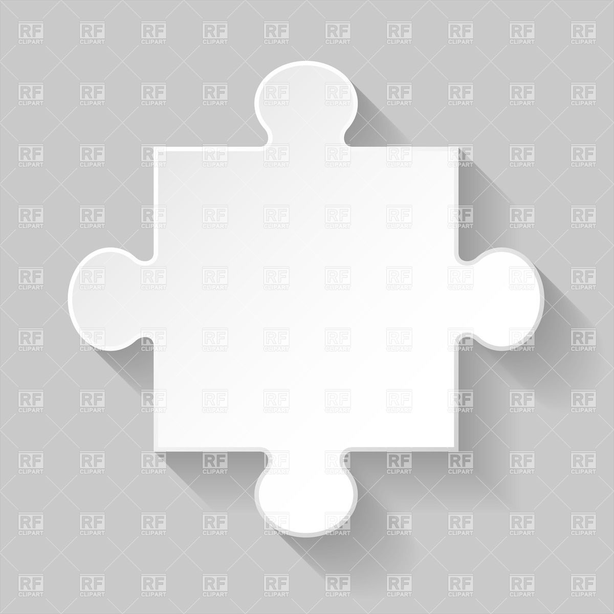 White puzzle element with shadow on grey background Vector Image.