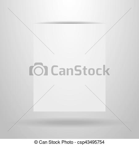 Clipart Vector of White sheet of paper with the shadow on a grey.