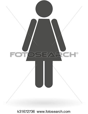 Clip Art of Dark grey icon for woman (female) on white background.