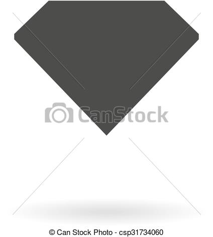 Clip Art Vector of Dark grey icon for crystal (gem, diamond) on.