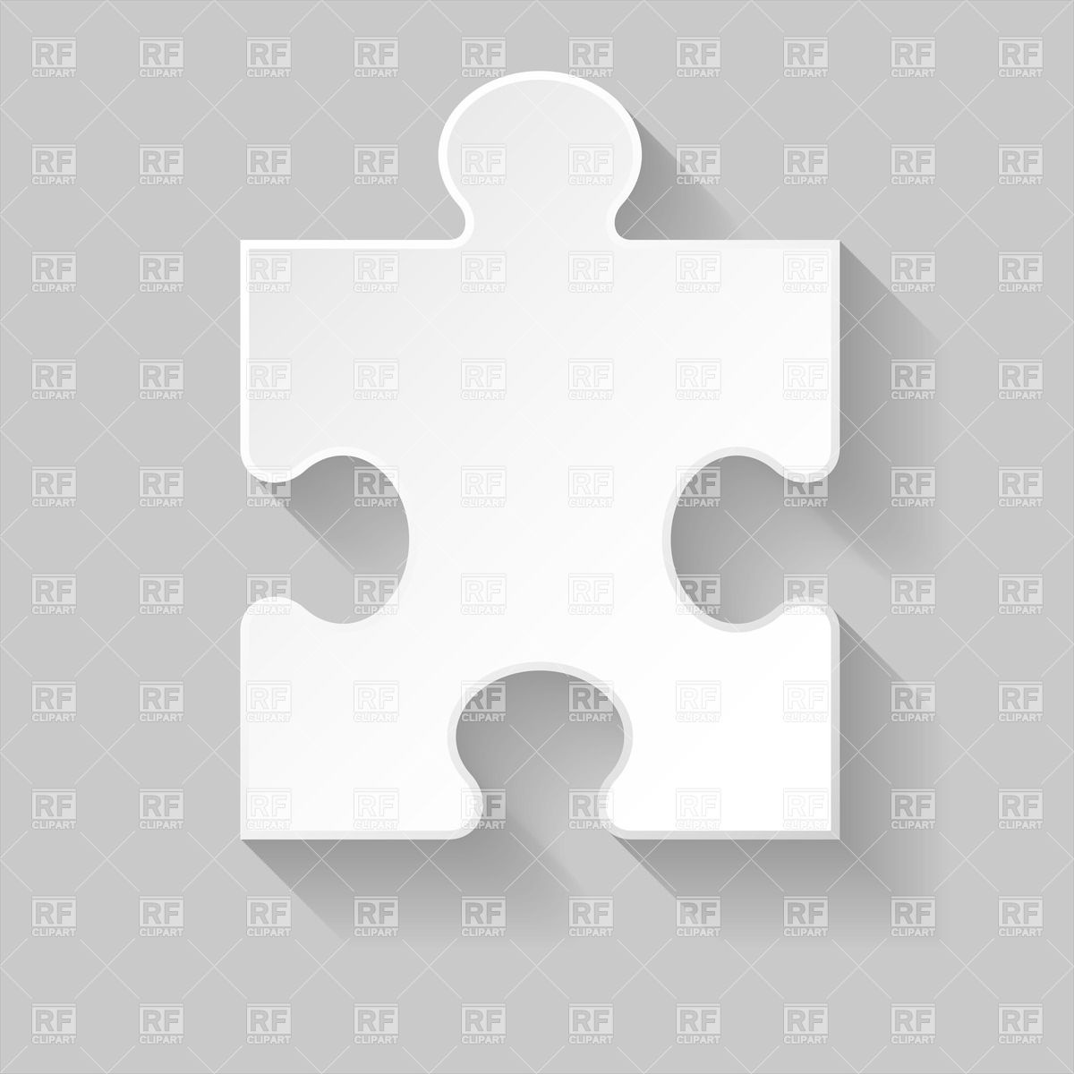 White puzzle element with shadow isolated on grey Vector Image.