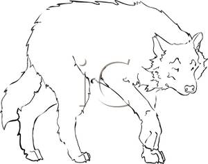 Black And White Wolf Clipart.