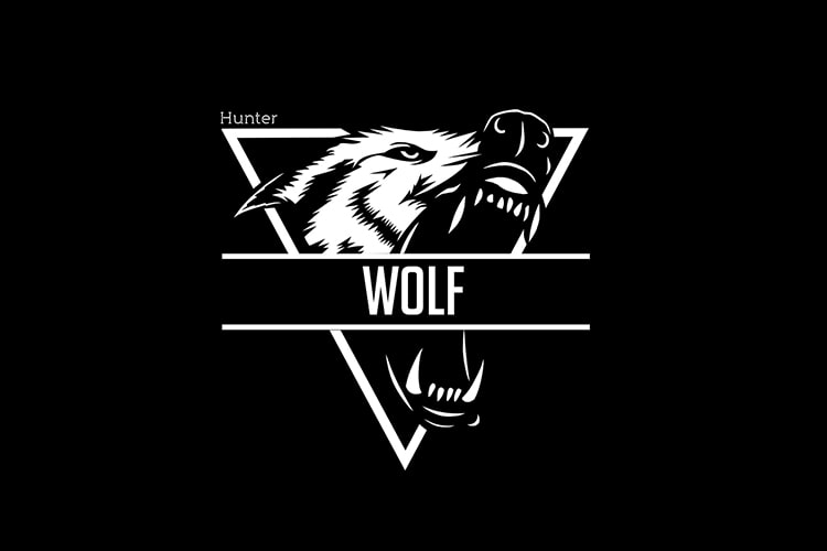 Create Wolf Logo Black & White.