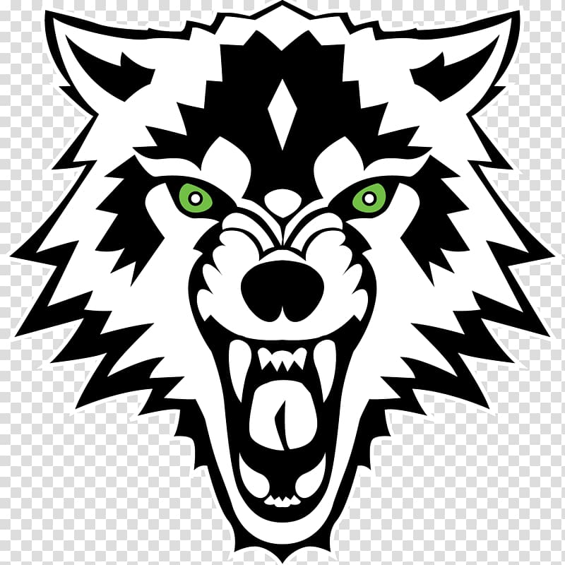 Black and white wolf logo, Gray wolf Decal Sticker White.