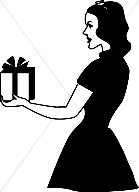 Retro Lady Giving Gift.