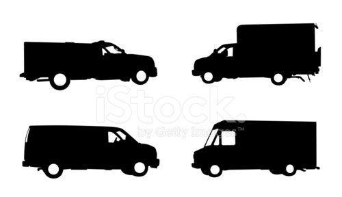 Collection of work trucks and service vehicles Clipart Image.