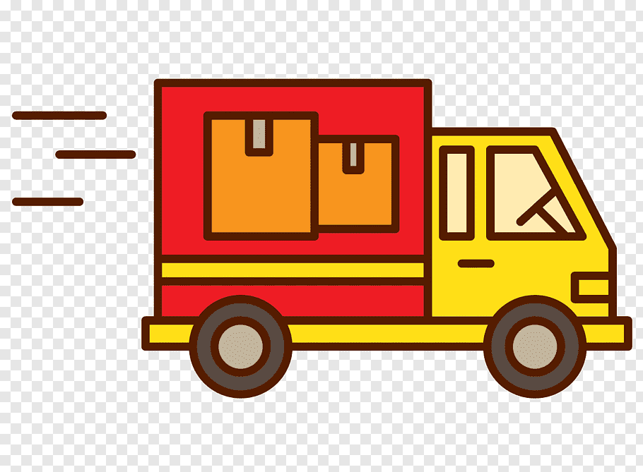 Red and yellow delivery truck illustration, Logistics Cargo.