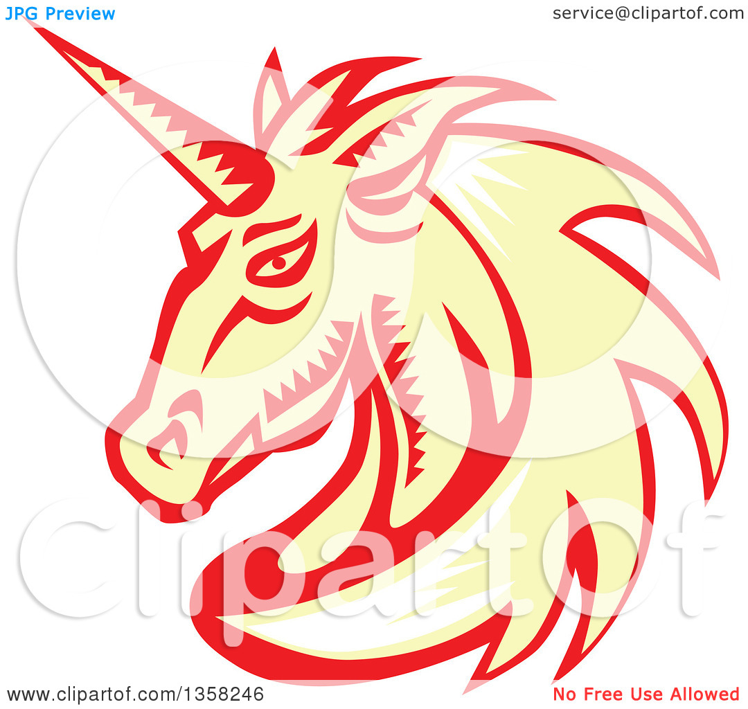 Clipart of a Retro Woodcut White, Yellow and Red Unicorn Head.
