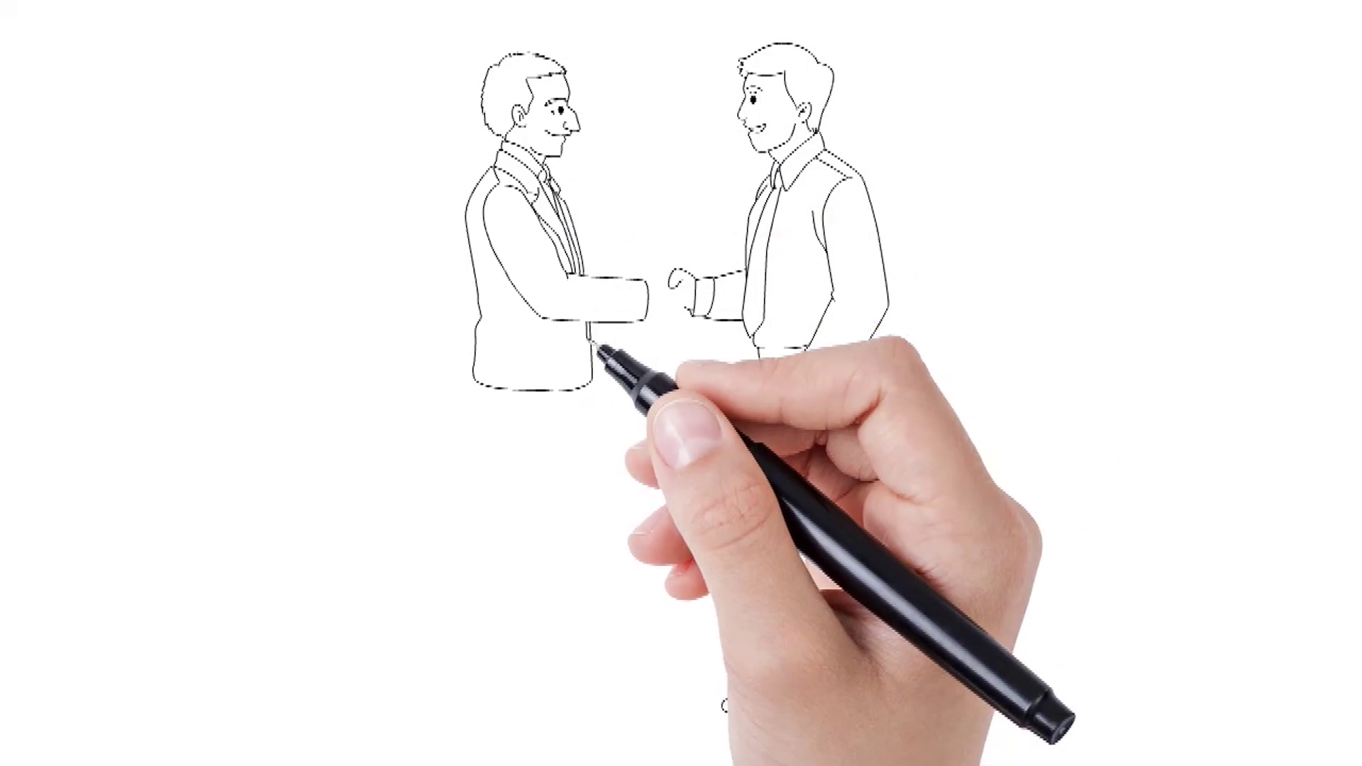 Whiteboard animation of two person hand shaking. Animated sketch of two men  shaking hands. Motion Background.