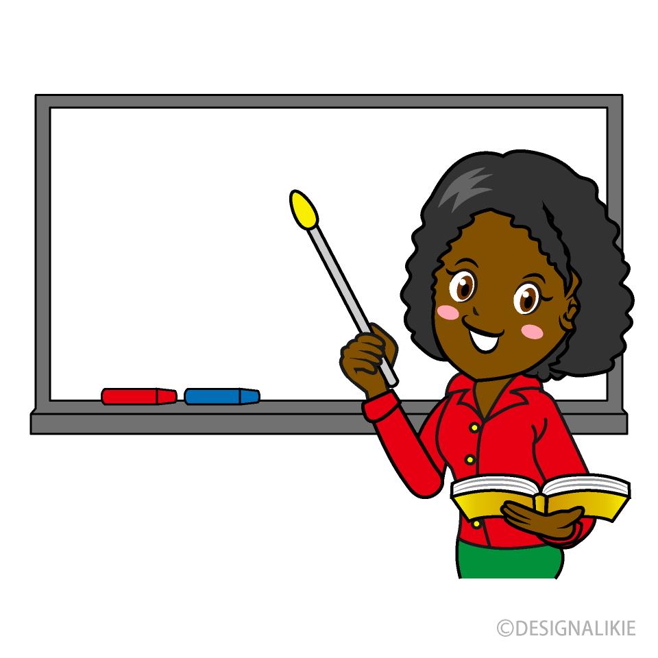 Free Female Teacher on Whiteboard Clipart Image|Illustoon.