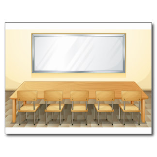 Classroom with whiteboard and.