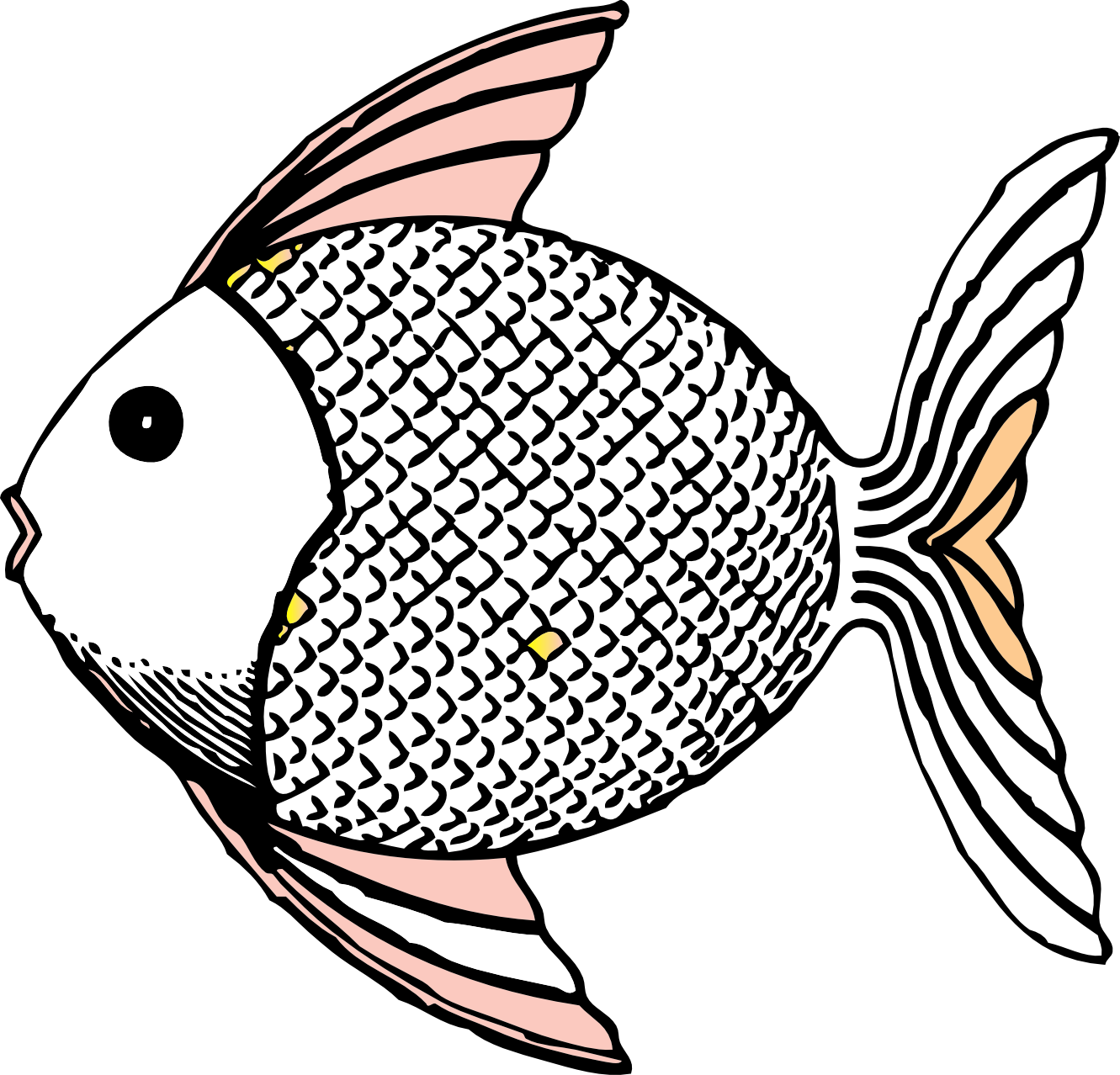 Free black and white fish clipart.