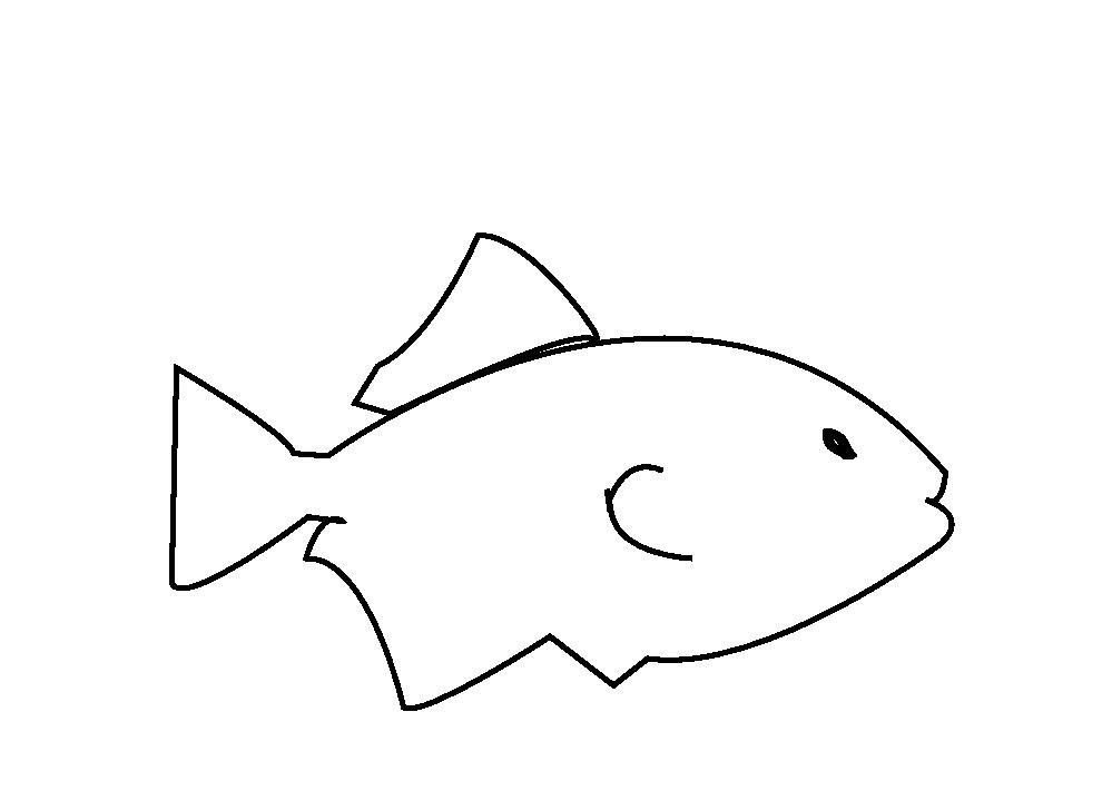 Aquarium Black and White Fish Clipart.
