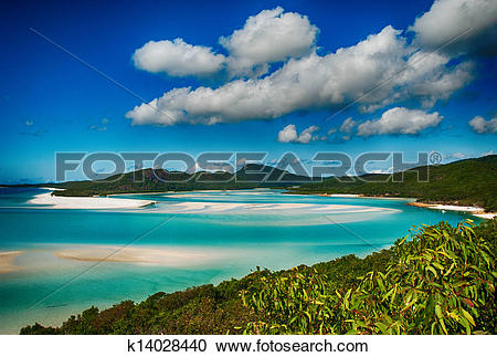 Stock Photography of Whitehaven beach lagoon at national park.