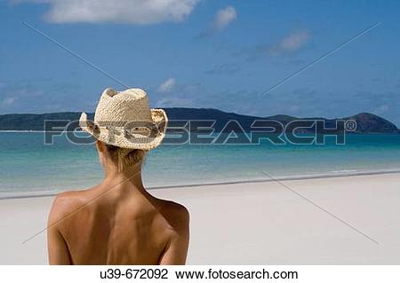 Stock Photo of Back of a woman wearing a cowboy hat, Whitehaven.