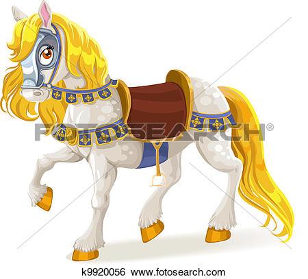 Clip Art of Whitehorse saddled for brave deeds k9920056.
