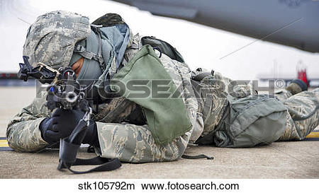 Stock Photo of Airman provides security at Whiteman Air Force Base.