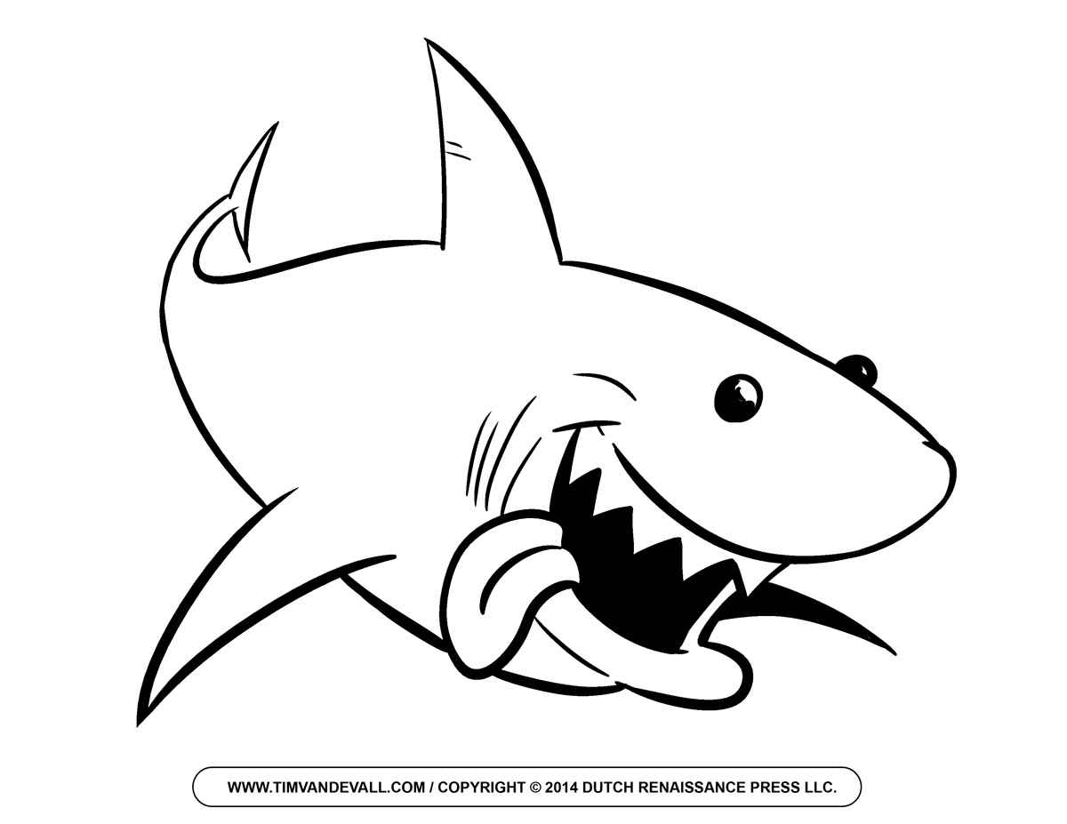 Shark Black And White Clipart.