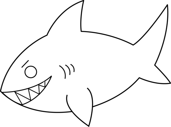 Free Black And White Shark Clipart.