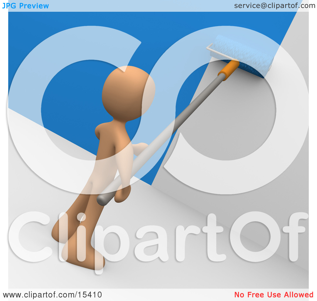 Person Using A Roller To Apply Blue Paint To A White Wall Clipart.
