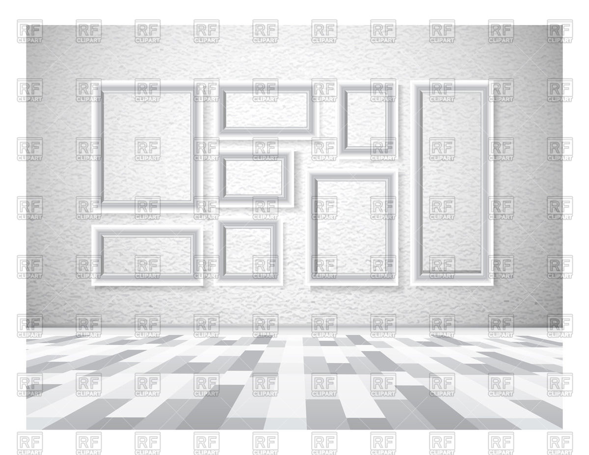 Picture frames on white wall Vector Image #73151.