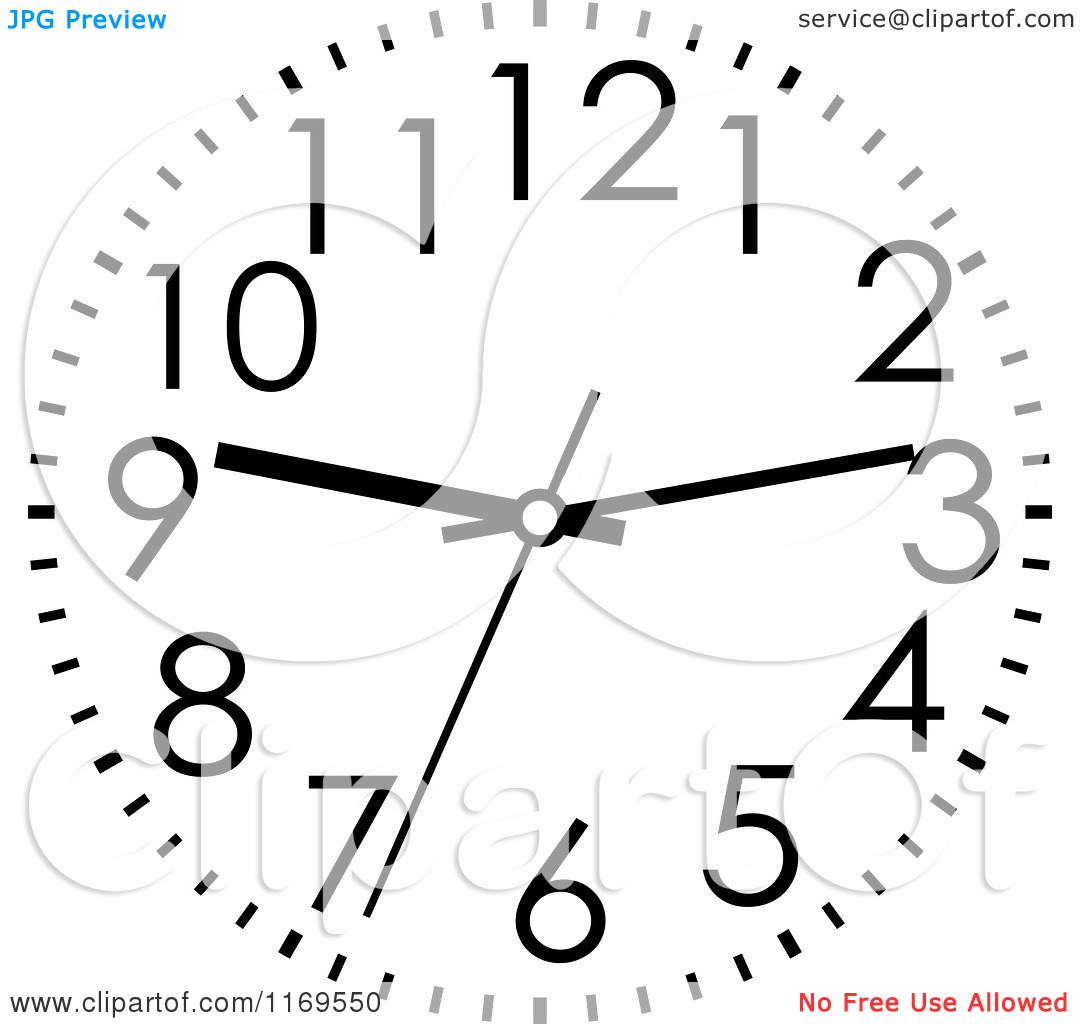 Clipart of a Black and White Wall Clock 2.