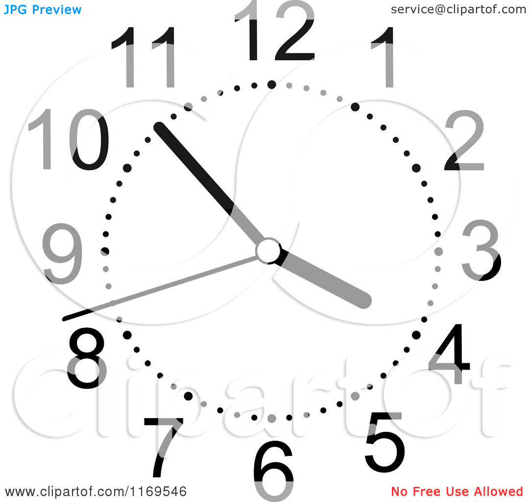 Clipart of a Black and White Wall Clock 4.