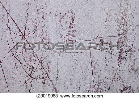 Pictures of Whitewashed wall with the naive drawing of a human.
