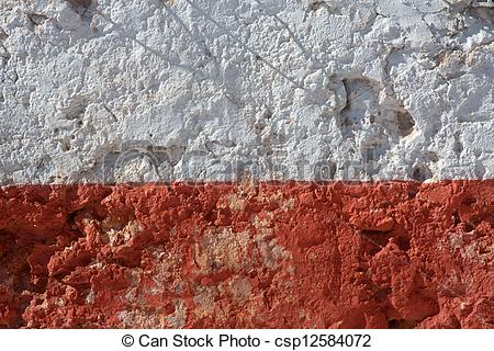 Picture of Aged whitewashed wall with red grunge paint wheatered.