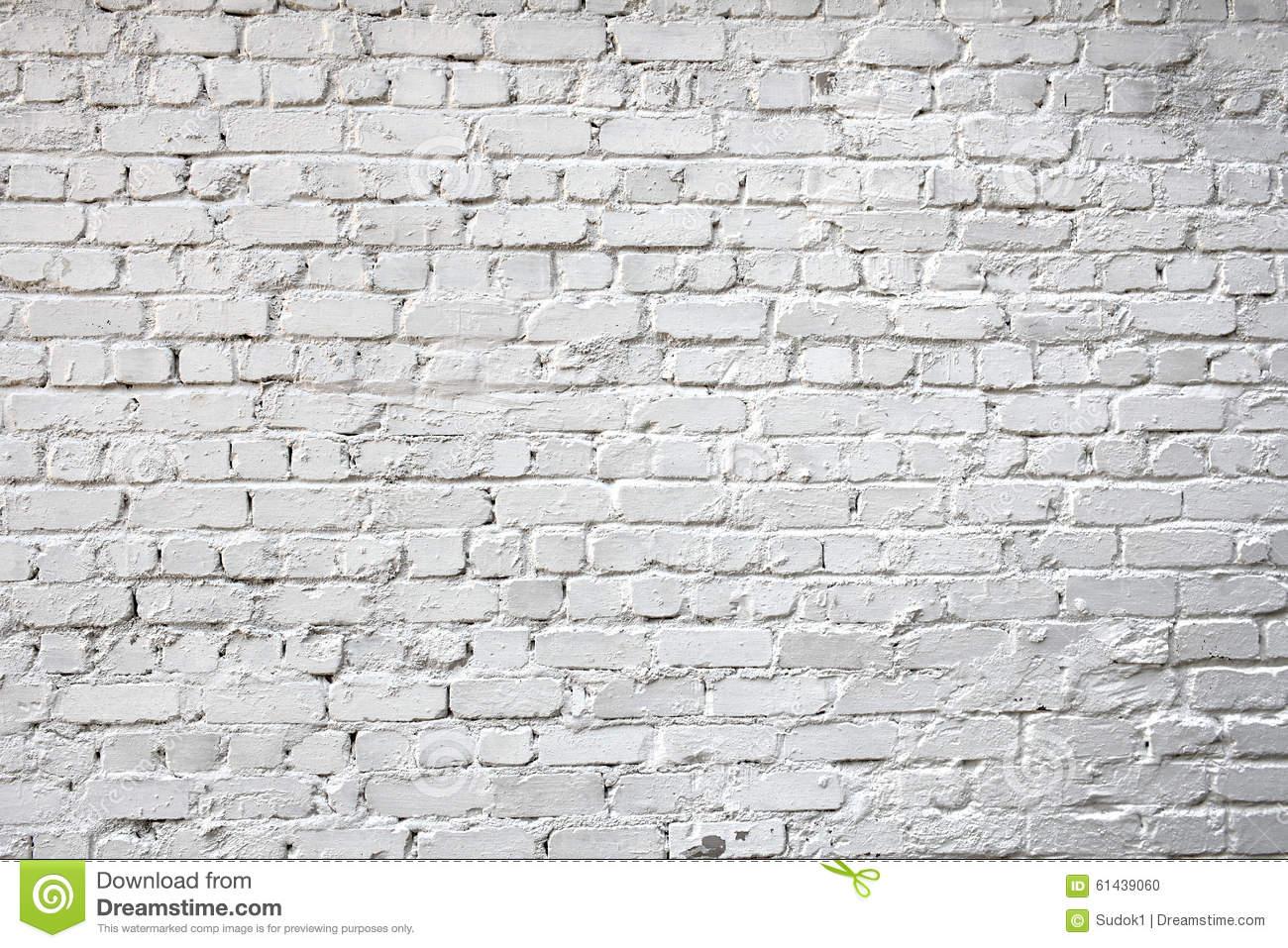 Whitewashed Brick City Wall For Background Stock Photo.