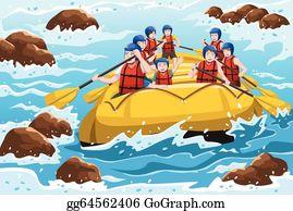 River Rafting Clip Art.