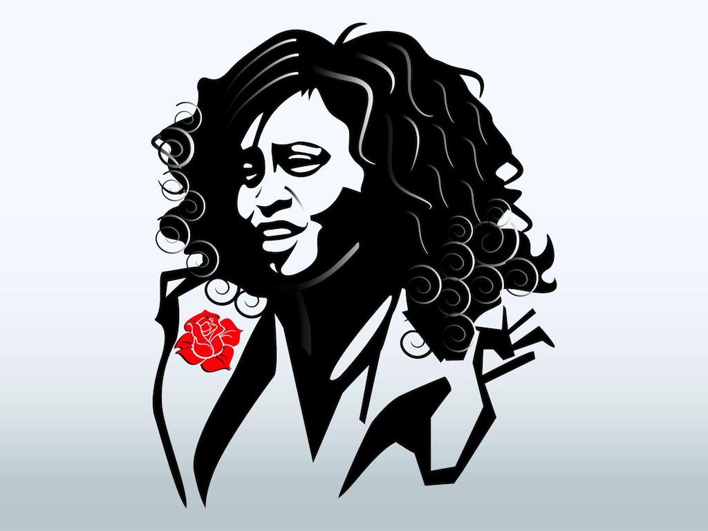 Whitney Houston Portrait Vector Art & Graphics.